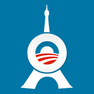 Obama 2012 Paris France Eiffel Tower Logo